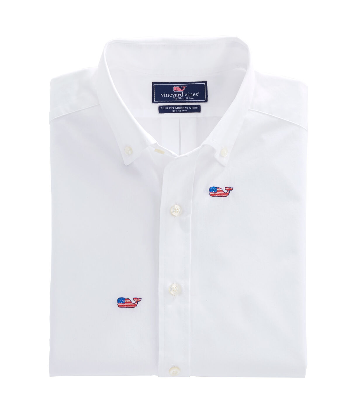 Shop flag whale embroidered slim whale shirt at vineyard vines for Whale emblem on shirt