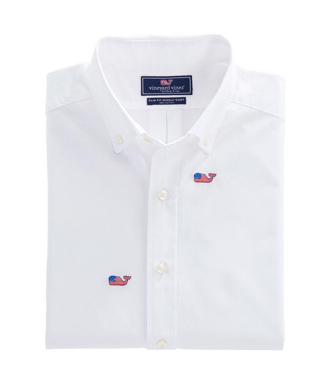 b53427973 Shop Flag Whale Embroidered Slim Whale Shirt at vineyard vines