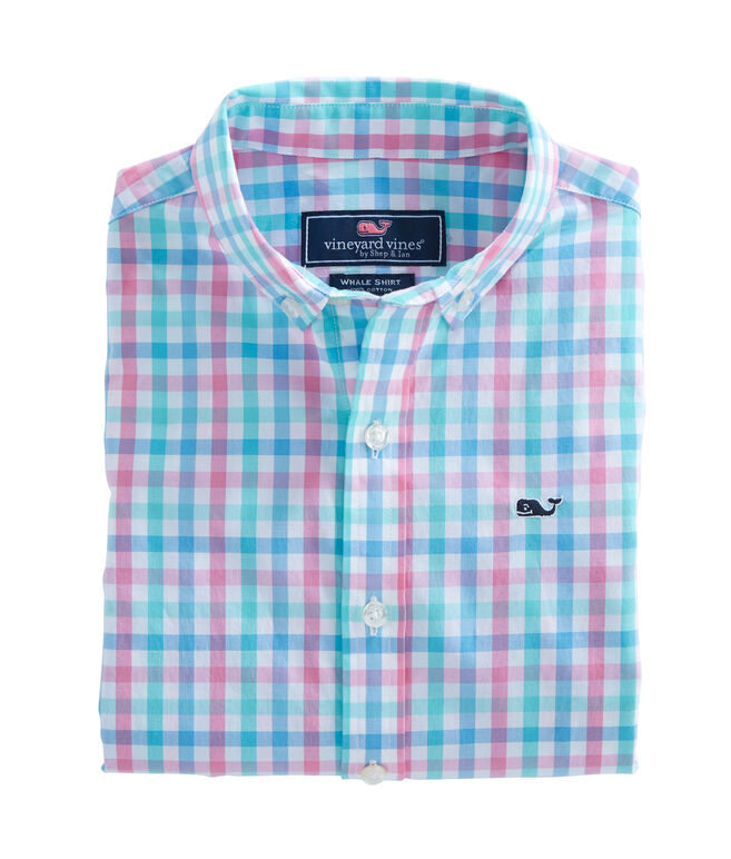 Boys Cattail Check Whale Shirt