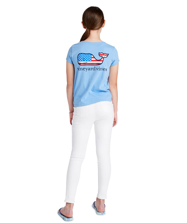 Girls Flag Whale Pocket Tee