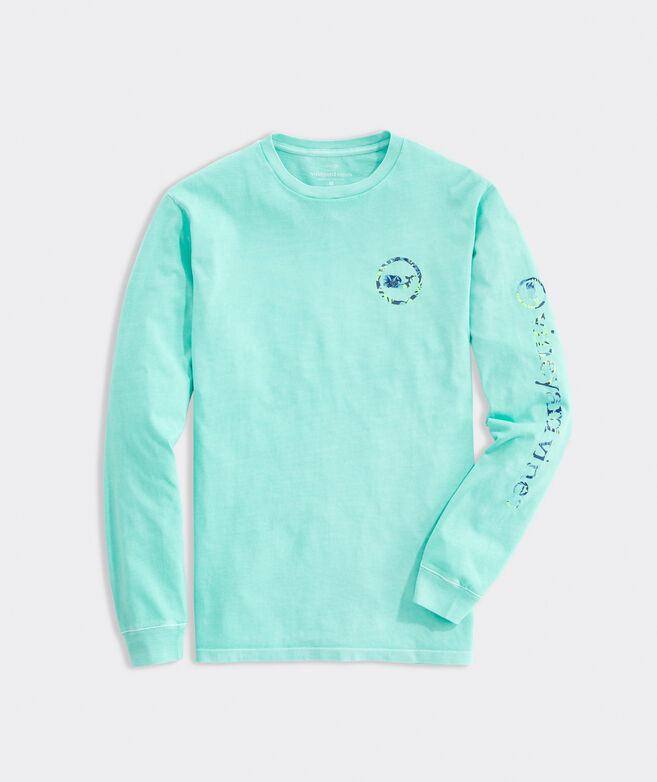 Garment Dyed Island Leaves Whale Dot Long-Sleeve Tee