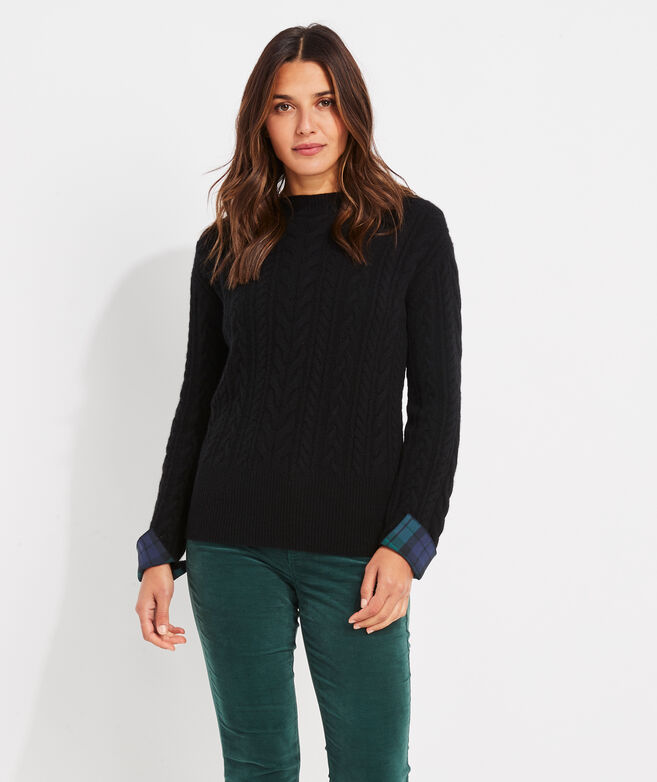 Blackwatch Cuff Cashmere Cable Sweater
