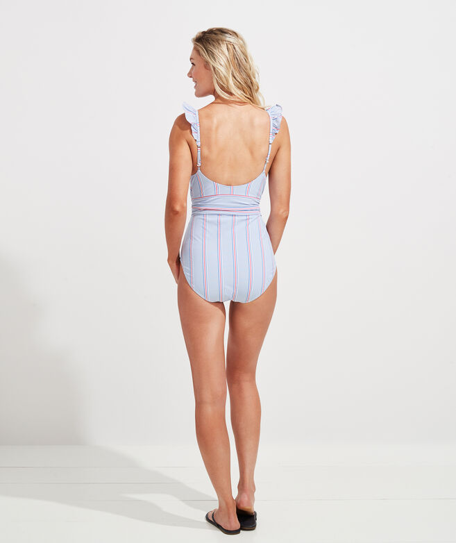 Nicholls Stripe Ruffle One-Piece