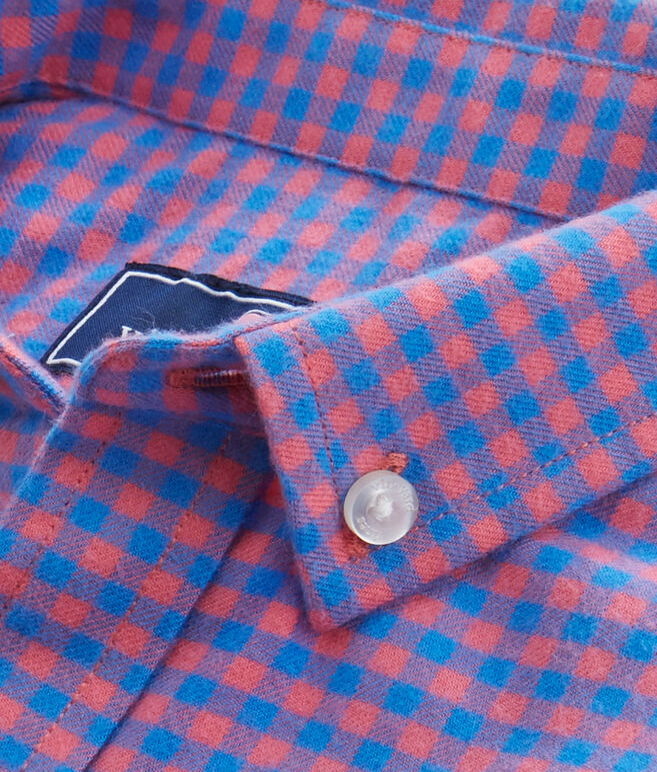 Boys Gorda Cay Gingham Flannel Whale Shirt