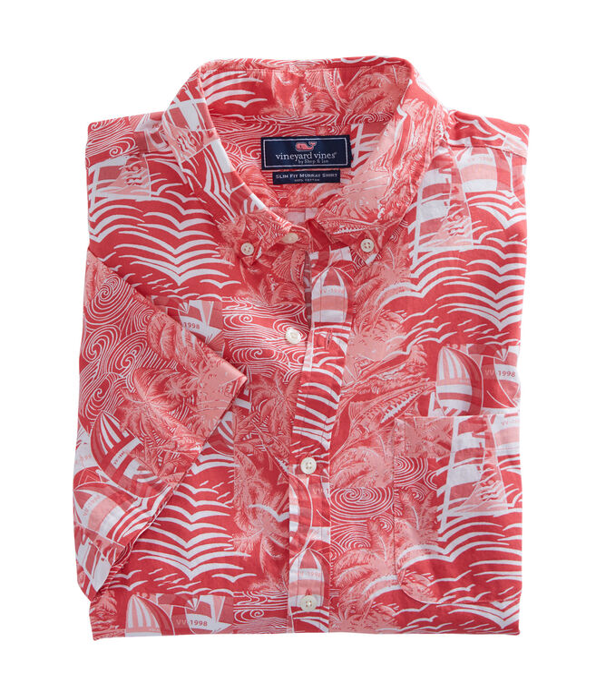 Short-Sleeve At Sea Patchwork Slim Tucker Shirt