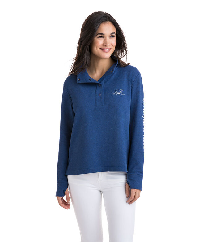 Long-Sleeve Vintage Whale Snap Placket Pullover