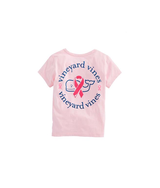 Girls Short-Sleeve Breast Cancer Awareness Ribbon Whale Pocket Tee