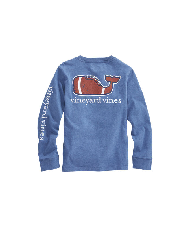 Boys Long-Sleeve Heathered Football Whale Pocket T-Shirt