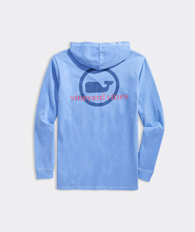 Garment-Dyed Whale Dot Long-Sleeve Hoodie Tee