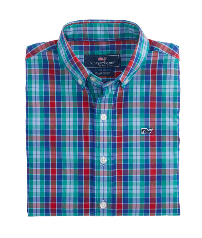 Boys Northern Shore Plaid Whale Shirt