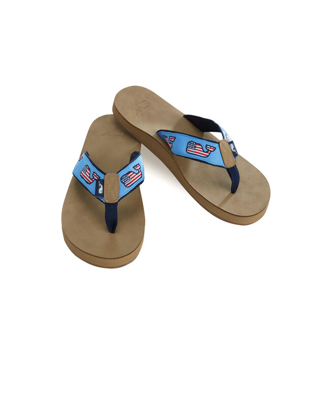 Flag Whale Leather Fip Flops