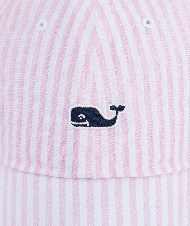 Little Girls Whale Logo Seersucker Hat