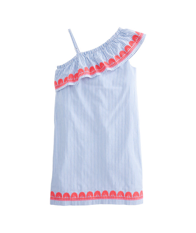 Girls Stripe Embroidered One Shoulder Dress