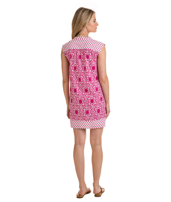 Tile Medallion Print Tunic Mix Dress