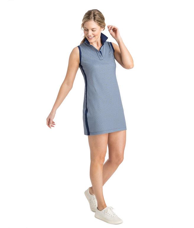 Gingham Printed Sleeveless Pique Sport Polo Dress
