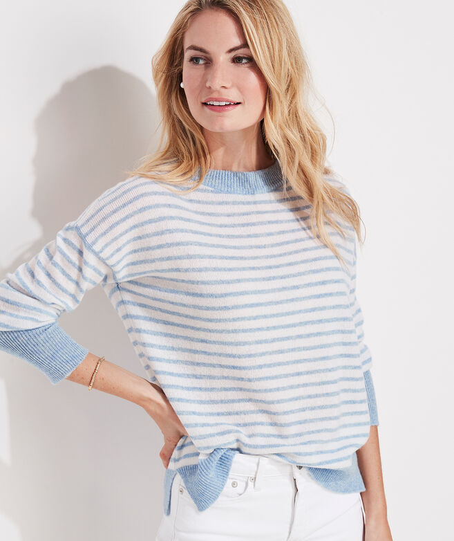 Lofty Cashmere Striped Crewneck Sweater