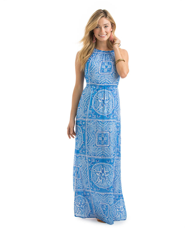 Sand Dollar Scarf Print Maxi Dress