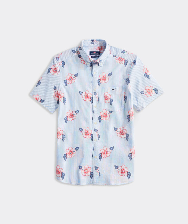 Classic Fit Hibiscus Stripe Short-Sleeve Shirt in Stretch Cotton