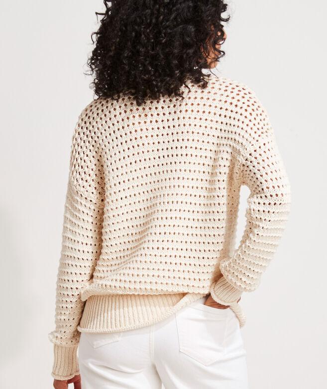 Pointelle Texture Cotton Crewneck