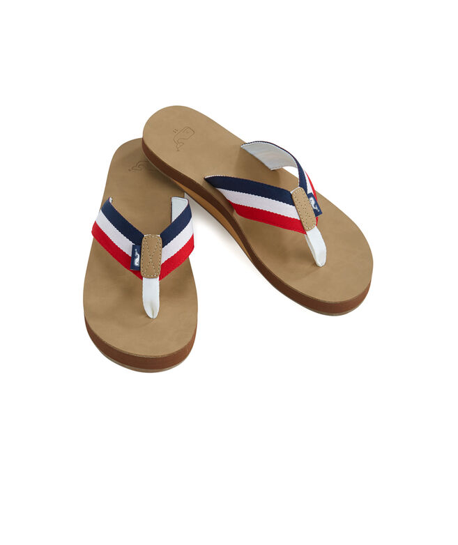 17e38cd3108e Shop Leather Grosgrain Ribbon Flip Flops at vineyard vines