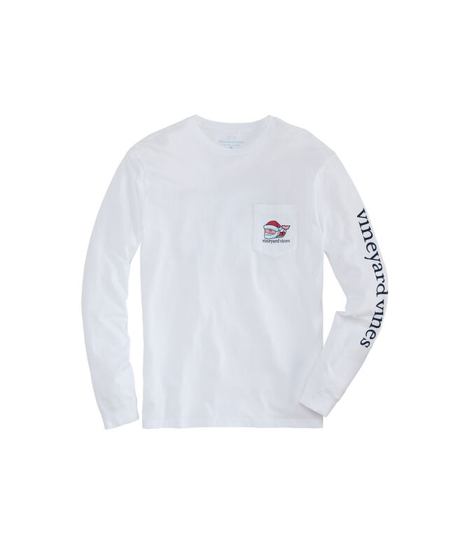 2019 Classic Santa Whale Long-Sleeve Pocket Tee
