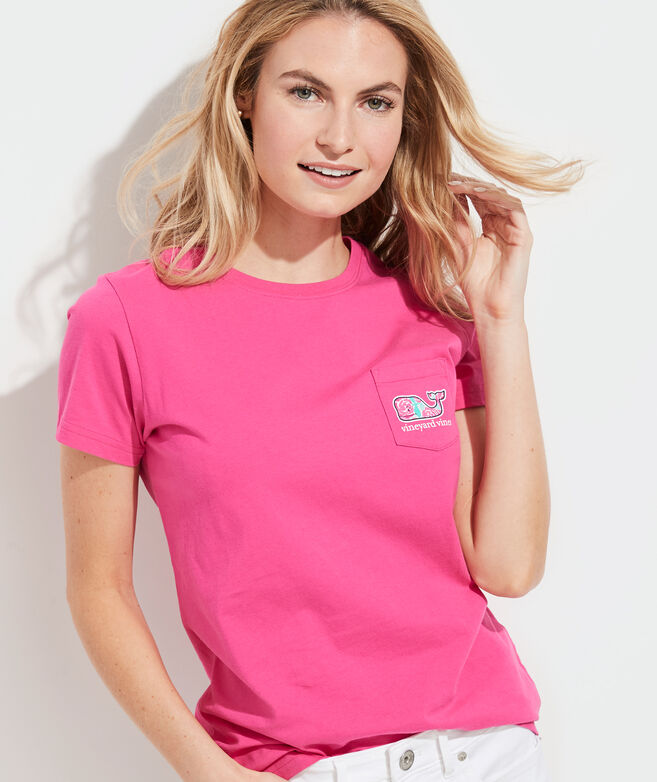 Painted Roses Whale Fill Short-Sleeve Pocket Tee