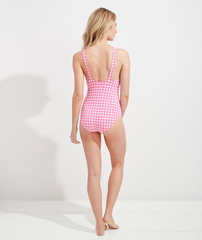 Palm Beach Gingham Grosgrain One-Piece