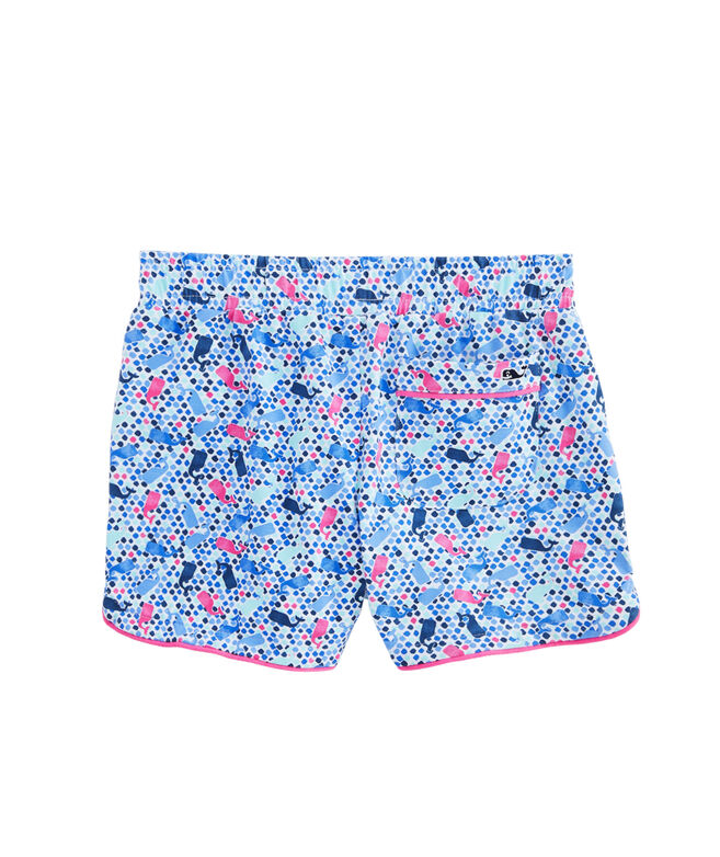 Girls Tiny Diamond Whale Print Knit Pull-On Shorts