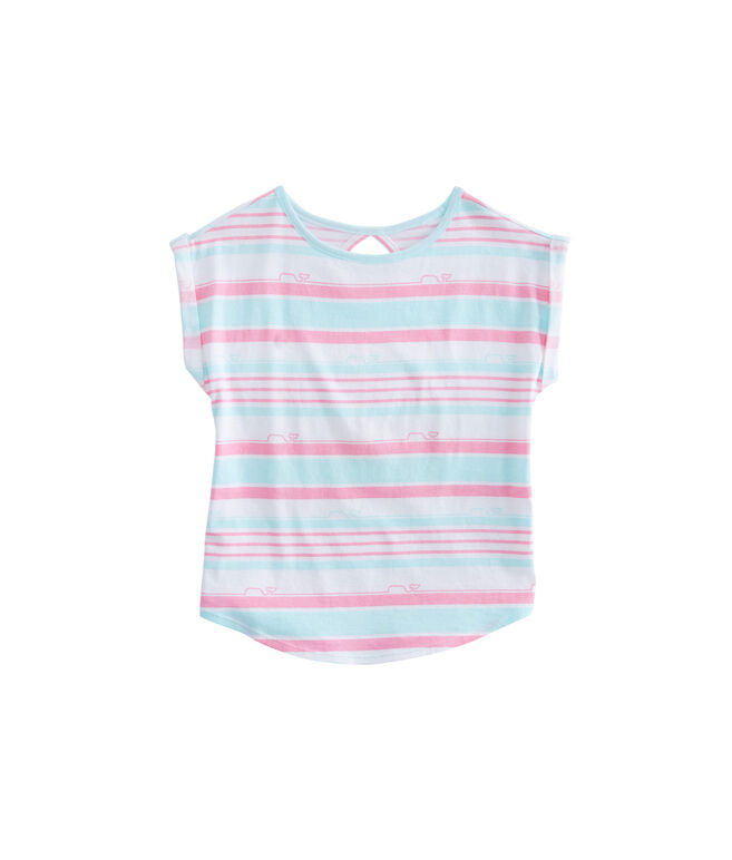 Girls Whale Stripe Shirttail Tee