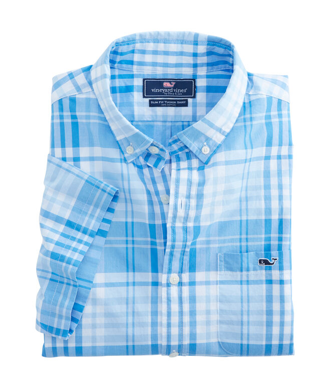 Short-Sleeve Crawfish Plaid Slim Tucker Shirt