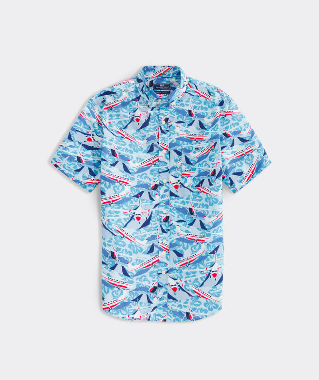 Classic Fit Jet Set Print Short-Sleeve Shirt in Stretch Cotton