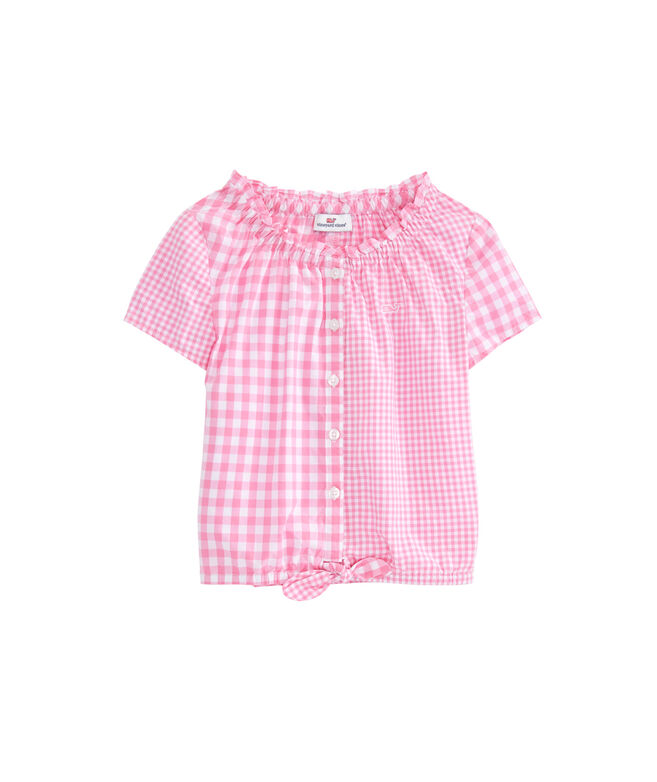 Girls Gingham Party Tie Top
