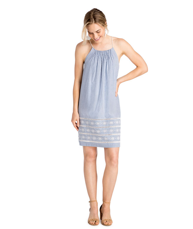 Sandbar Stripe Embroidered Dress