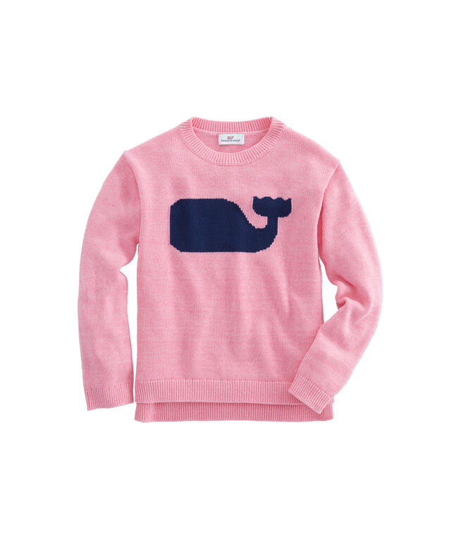 Girls Solid Whale Intarsia Sweater