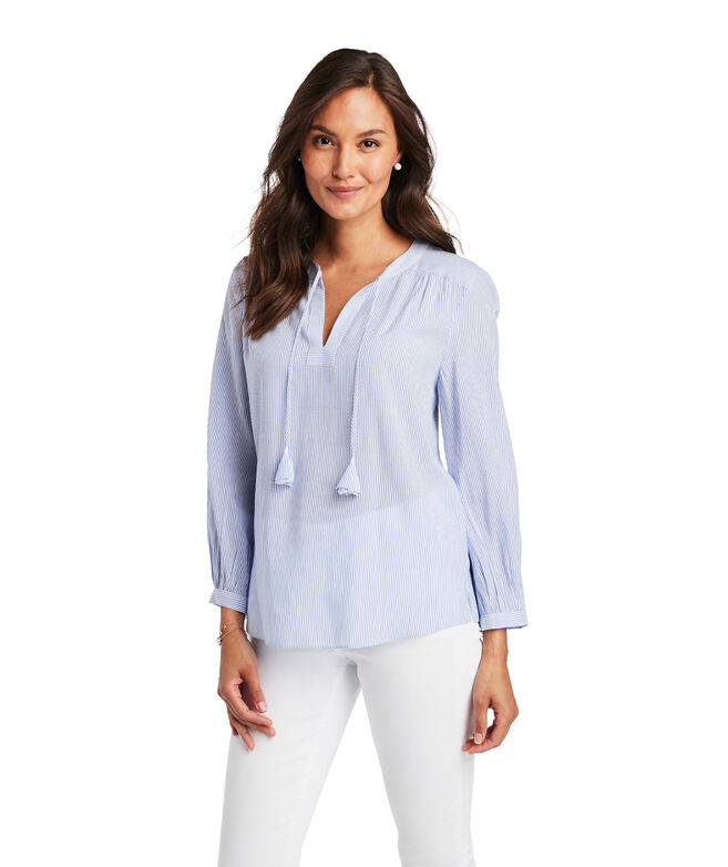 Boathouse Stripe Savanah Popover Top
