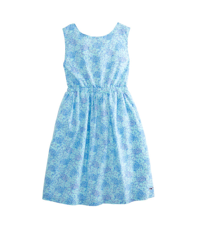 Girls Turtle Print Woven Tie Back Dress