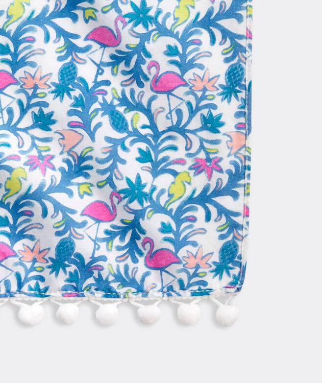 Floral Flamingos Printed Pareo Scarf