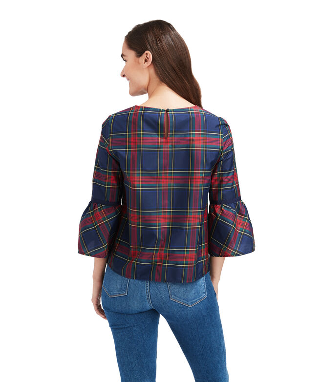 Jolly Plaid Bell Sleeve Top