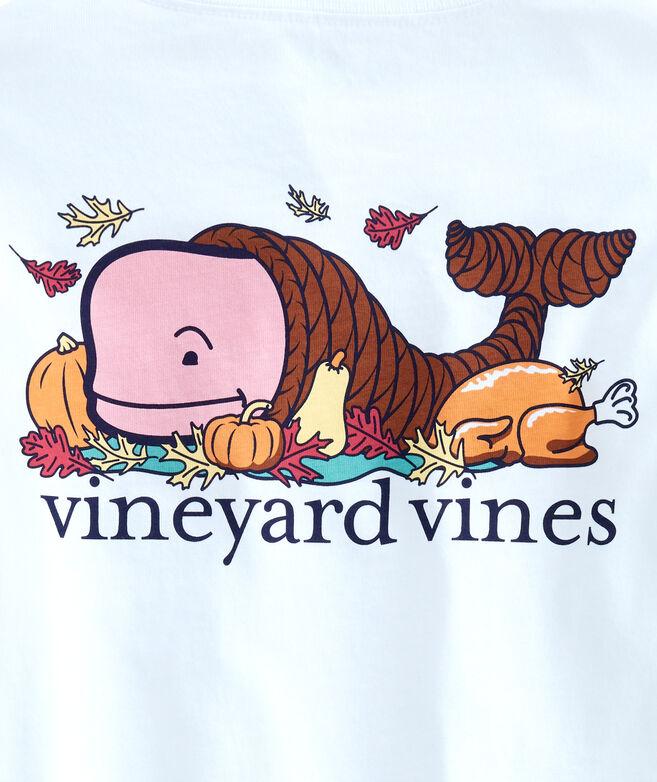 Boys Thanksgiving Cornucopia Whale Long-Sleeve Pocket T-Shirt