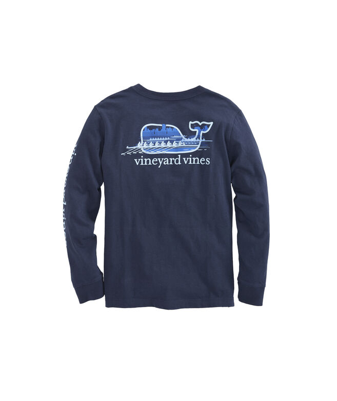 Boys Long-Sleeve Crew Whale Pocket T-Shirt