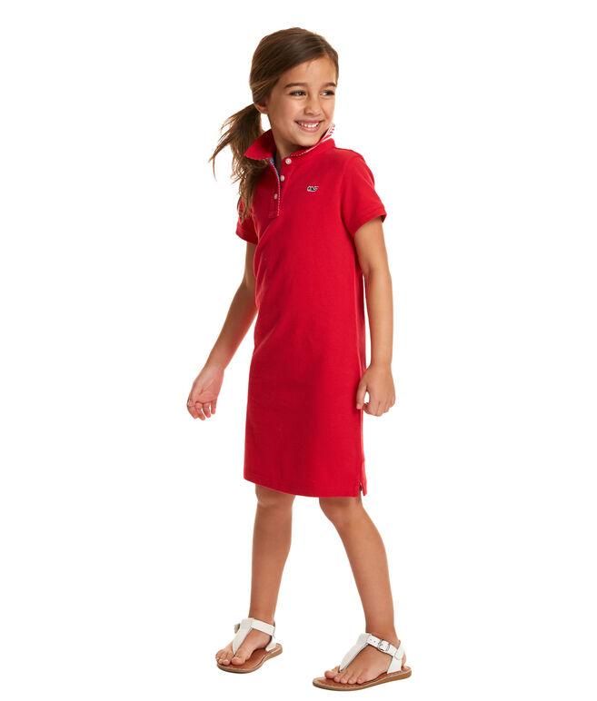 Girls Flag Undercollar Polo Dress
