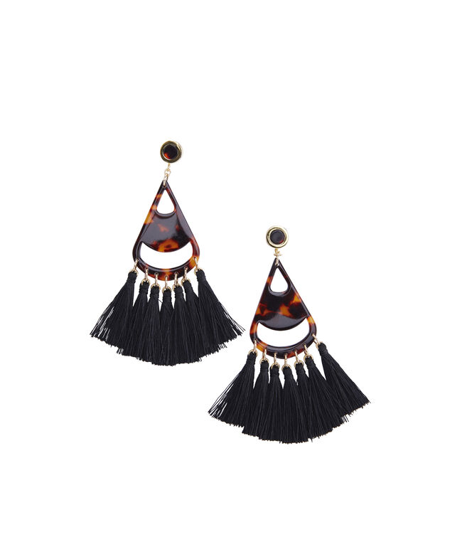 Tortoise Multi Tassel Earrings