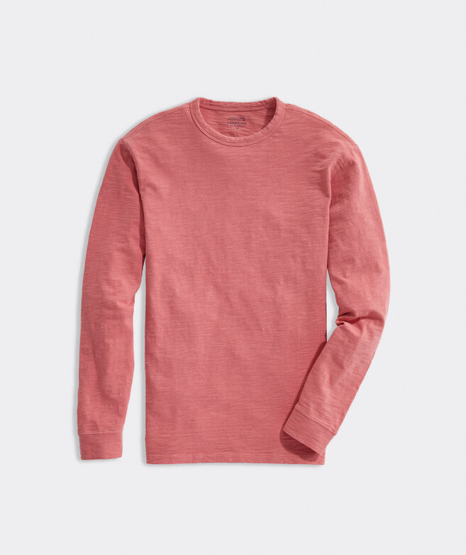Island Garment-Dyed Long-Sleeve Slub Crewneck