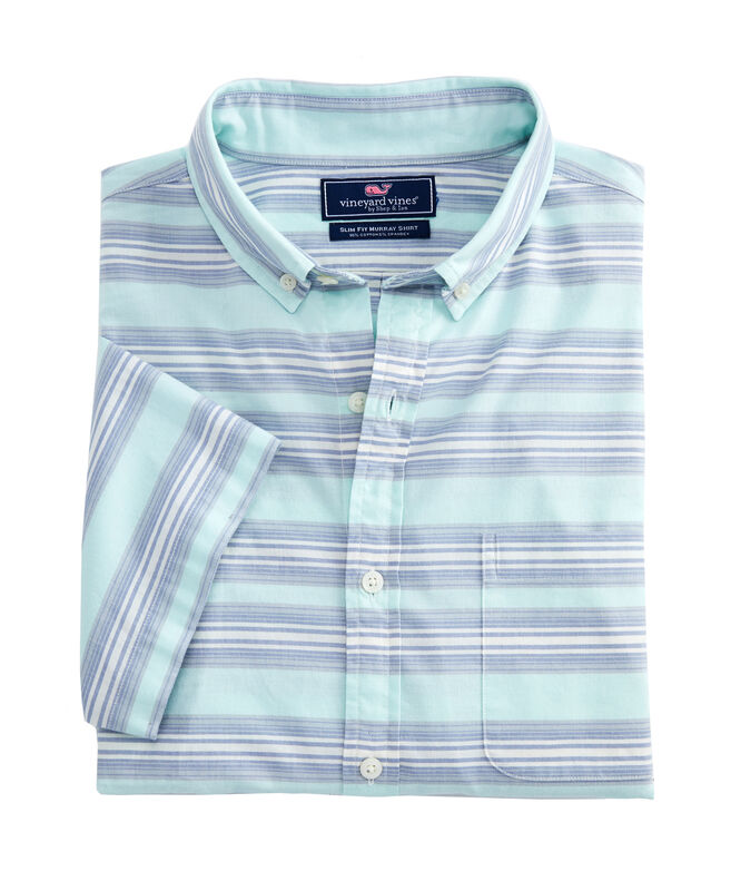 Slim Short-Sleeve Marina Stripe Murray Shirt