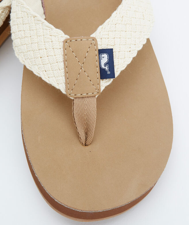 81ed4f24f9f6 Leather Flip Flops With Washed Webbing.