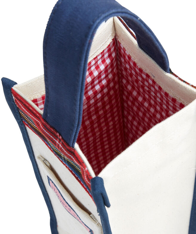 Jolly Plaid Wine Tote