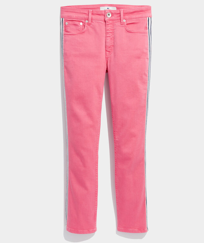 Limited-Edition Jamie High-Rise Straight Crop Side-Stripe Jeans