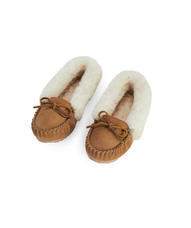 Womens Suede Shearling Slippers