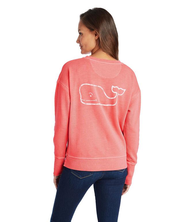 Long-Sleeve Garment Dyed Vintage Whale Crewneck Sweatshirt