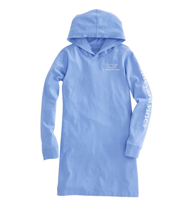 Girls Long-Sleeve Whale Hoodie Tee Dress